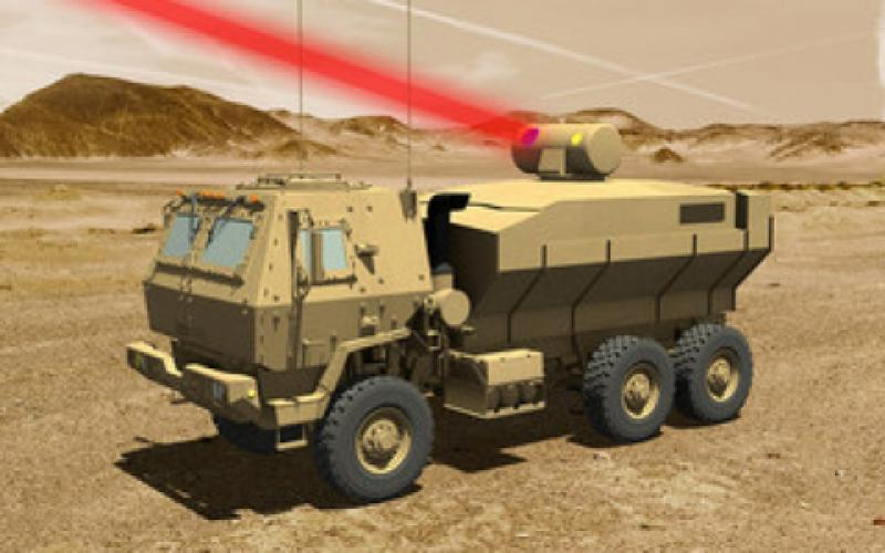 A rendering of Lockheed Martin's combined fiber laser shows the power the weapon would offer to the Army. Lockheed Martin