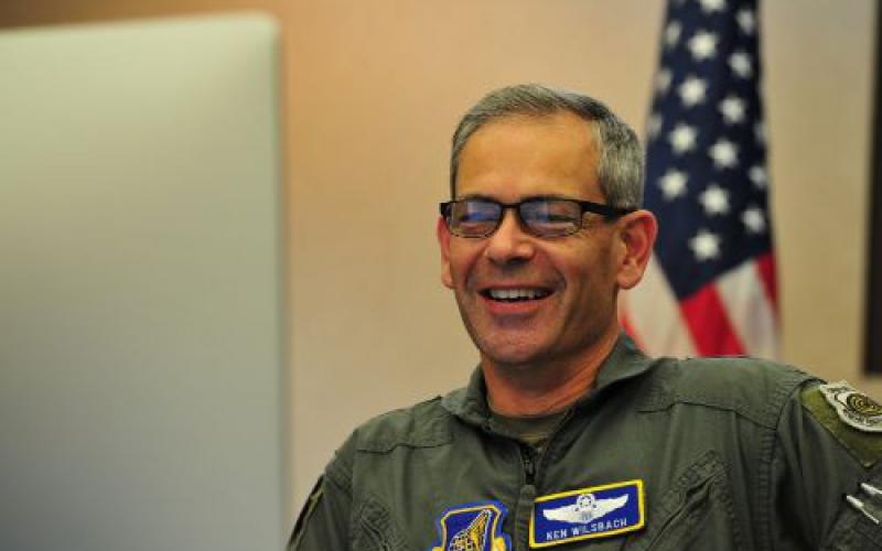 Gen. Ken Wilsbach, USAF, Pacific Air Forces commander, hosts senior leaders from nations in the Indo-Pacific theater during a quarterly Pacific Air Chiefs video teleconference from Hickam Air Force Base, Hawaii in December 2020. The general emphasizes Guam's role in the region as a strategic hub that supports the United States and its multilateral allies and partners' efforts to ensure a free and open Indo-Pacific.  U.S. Air Force photo by Tech. Sgt. Nick Wilson, Pacific Air Forces Public Affairs