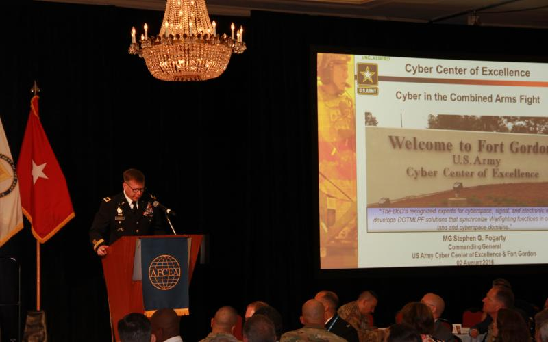 Maj. Gen. Stephen Fogarty, former commander, U.S. Army Cyber Center of Excellence, delivers his opening keynote at AFCEA's TechNet Augusta 2016: Cyber in the Combined Arms Fight.