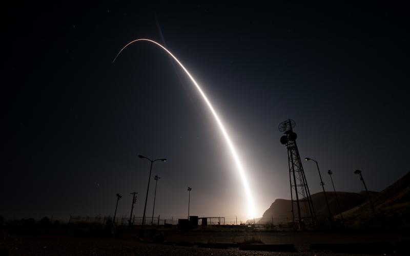 An unarmed Minuteman III intercontinental ballistic missile launches during an operational test from Vandenberg Air Force Base, California. The Air Force is developing a new Airborne Launch Control System that will use modernized communications and electronics technology. Credit: Senior Airman Ian Dudley, USAF