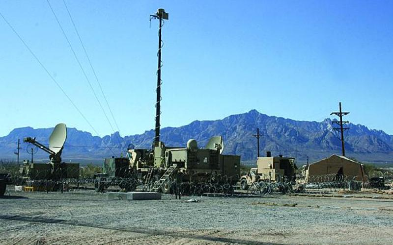 The Warfighter Information Network-Tactical equipment is set up during a Network Integration Evaluation at White Sands Missile Range, New Mexico.