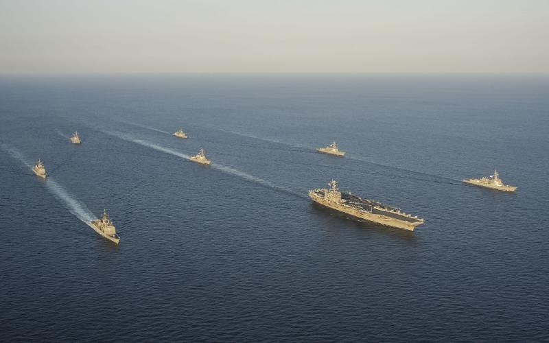 Ships of the George Washington Carrier Strike Group and the Republic of Korea Navy exercise together. As part of a Mission Partner Environment for the Asia-Pacific region, the Pacific Command chief information officer is establishing agile virtual enclaves.