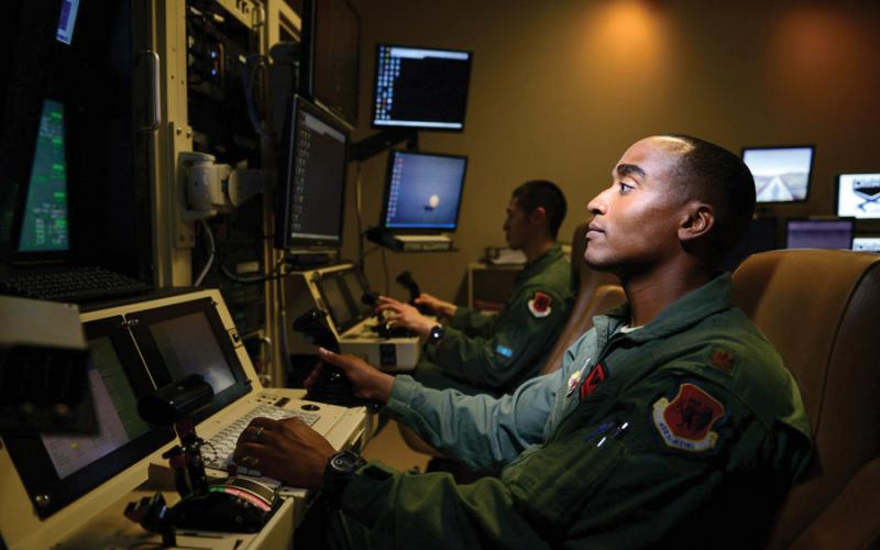 A 432nd Aircraft Maintenance Squadron MQ-9 Reaper pilot controls an aircraft from Creech Air Force Base, Nevada. The zero trust weapons architecture is being reviewed within DISA, the National Security Agency, U.S. Cyber Command, and the office of the Defense Department chief information officer, and may be made available to all of the department components. Credit: U.S. Air Force photo by Staff Sgt. Vernon Young Jr.