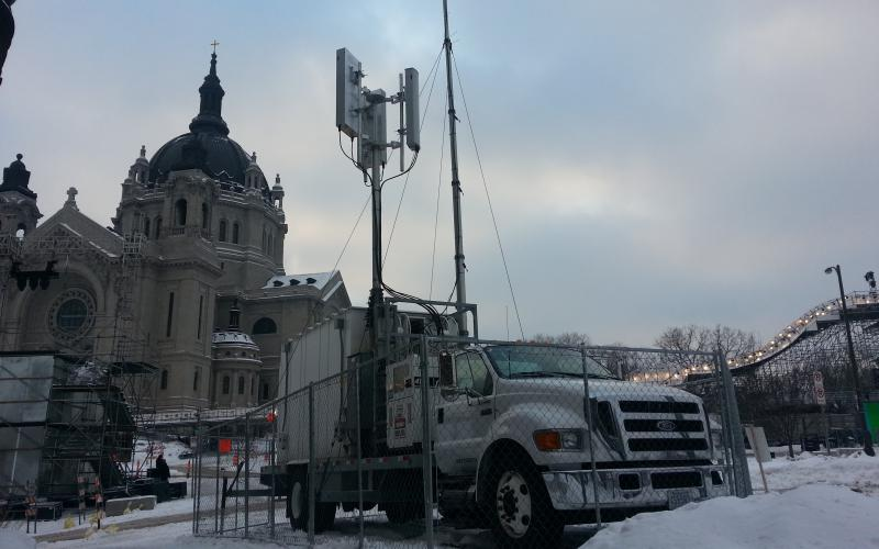 Verizon deploys a Cell on Light Truck (COLT) system to a sporting event known as the Red Bull Crashed Ice Competition, which took place in 2014. As part of its initial experiments with 5G technologies, the Defense Department intends to push systems even further, using them to transmit communications for a mobile air operations center. Credit: Verizon
