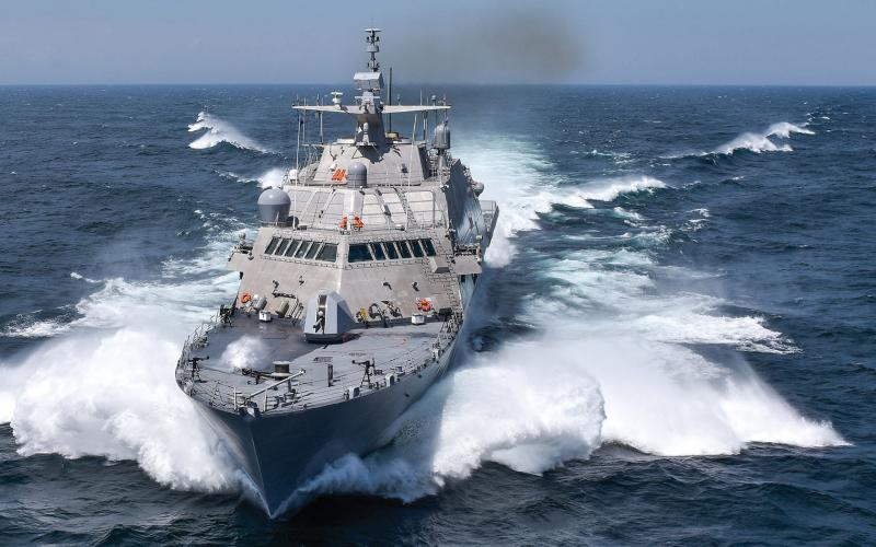 The USS Detroit (LCS 7) conducts acceptance trials, the last significant milestone before delivery to the Navy, in 2016. The Information Warfare Research Project was inspired in part by the National Shipbuilding Research Program initiated in 1971.