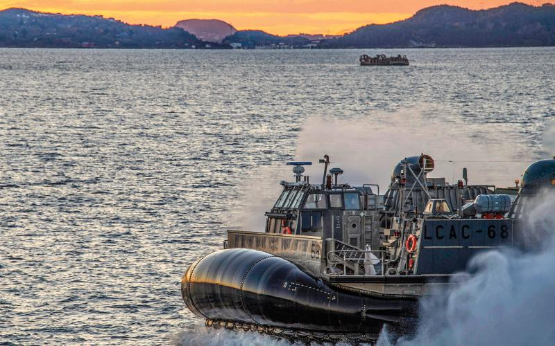 A Navy air-cushioned landing craft conducts ship-to-shore operations with the USS Iwo Jima in the Norwegian Sea, Oct. 29, 2018, as part of Trident Juncture, a NATO training exercise. Photo by Navy Chief Petty Officer David Holmes