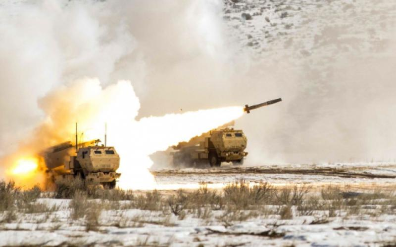 Soldiers from the 5-3 Field Artillery Regiment conduct live-fire exercises with the High-Mobility Artillery Rocket System at Yakima Training Center. A lighter-weight, longer-range rocket fuel is one of the winners of the xTechSearch competition that will contribute to multidomain operations.  U.S. Army photo by Sgt. Jacob Kohrs