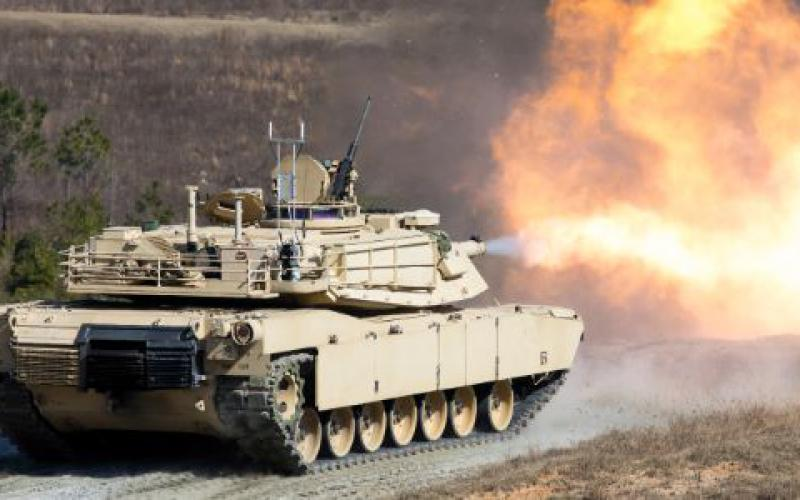 An Army M1A2 Abrams tank participates in training at Fort Benning, Georgia, in January 2020. Army researchers are integrating the FIRESTORM AI-enabled decision-making aid with the Abrams, as well as a host of other systems.  Army Sgt. Joshua Wooten