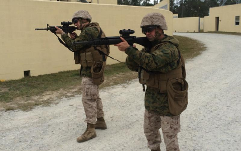 Marines at Camp Pendleton, California, test the new augmented reality glasses prototype in an urban combat training scenario.
