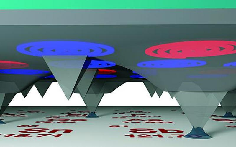 A digital micromirror device functions as a light-based desktop nanofabrication. A mirror array directs light to the back of each pyramidal probe in a massive array, allowing the light to be funneled down each probe to a nanoscale aperture at each tip. The system allows the performance of near- or far-field optical lithography on a massive scale.