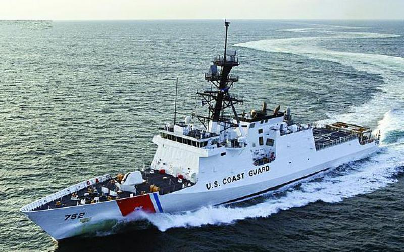 The Coast Guard's National Security Cutter, Stratton, underway during acceptance trials. The Coast Guard is modernizing the information communications infrastructure for the cutter fleet.