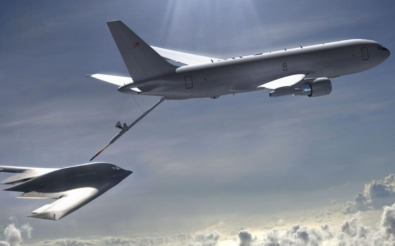 A KC-46 conducts in-flight refueling for a B-2 bomber. A new methodology for assessing cyber resiliency has been applied to the KC-46 and is being applied to the B-2 and other Air Force weapon systems. credit: Air Force illustration