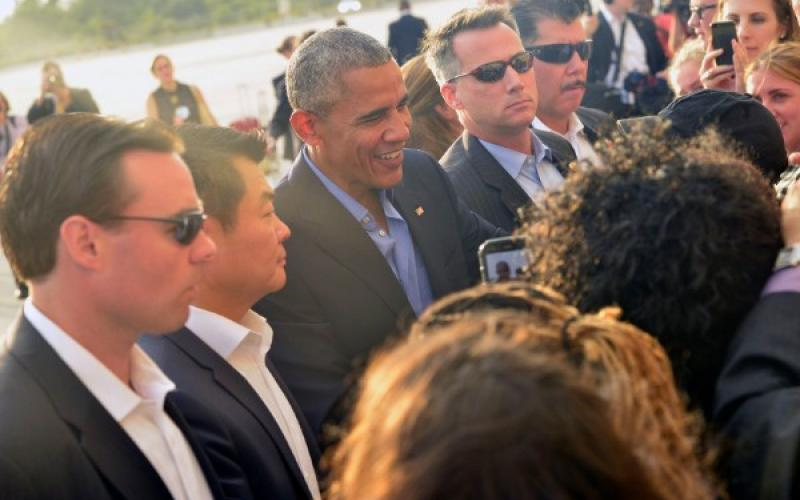 U.S. Secret Service agents protect President Barack Obama as he arrives in New York for the U.N. General Assembly session in September. The agency's CIO team supported an unusually high number of national special security events in 2016, including political debates, conventions and campaign events.