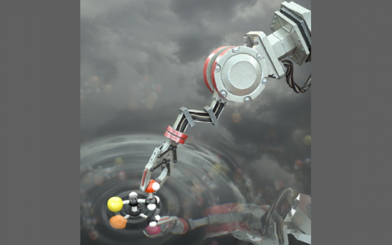 Molecular robots may one day produce combat supplies on demand for warfighters on the battlefield.  Artist's concept by Stuart Jantzen courtesy of the University of Manchester