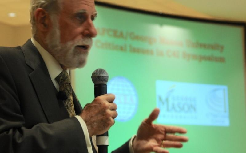 Vint Cerf, touted as one of the 'fathers of the Internet' and now vice president and chief Internet evangelist for Google, speaks at the AFCEA International/George Mason University Critical Issues in C4I Symposium held in May.