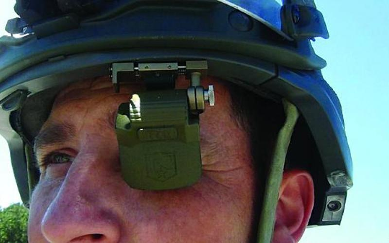 An INTEgRated Confomal Protective helmeT (INTERCPT) prototype shows an integrated head mounted display.