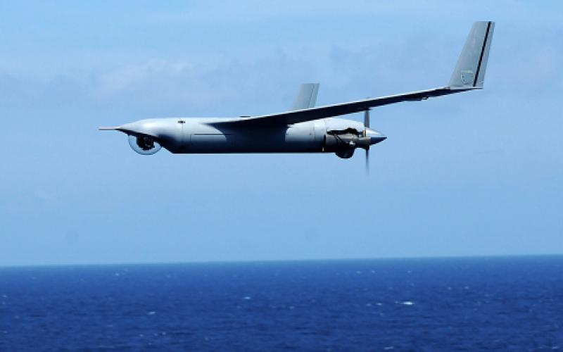 Although it has no formal program, the Coast Guard is interested in acquiring small, hand-launched UASs such as this RQ-20A Puma, which can be operated from a variety of ships and boats. Coast Guard officials say such small UASs will offer the service great operational flexibility in a variety of situations.  U.S. Navy photo