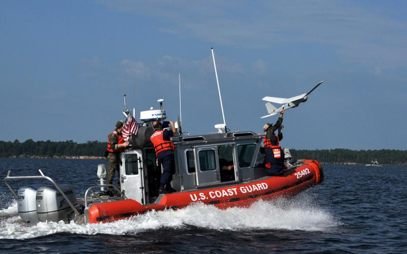 The U.S. Coast Guard plans to deploy unmanned aerial systems (UASs) such as the Boeing ScanEagle from the decks of its cutters. These aircraft will provide the ships with a persistent situational awareness capability.  Photo courtesy of Boeing