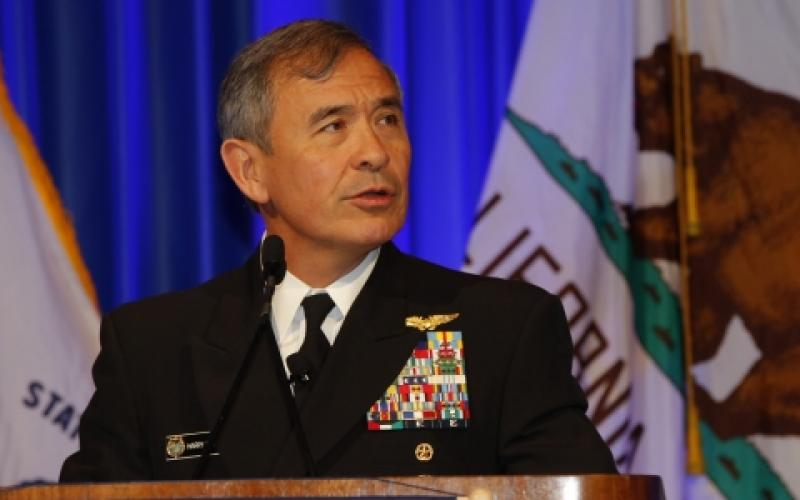 Adm. Harry Harris, USN, commander of U.S. Pacific Command, delivers a keynote address at West 2017 in San Diego. Photo by Michael Carpenter