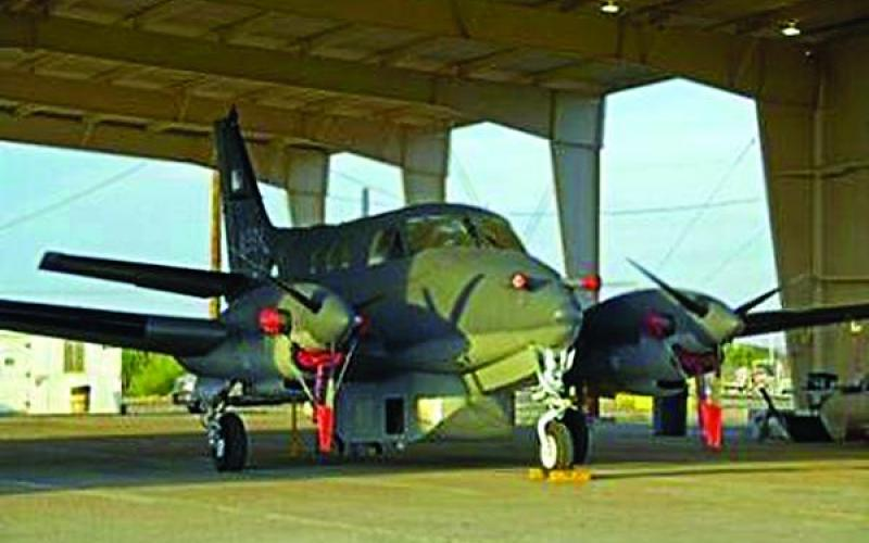 The Blue Devil Block I is mounted beneath the Beechcraft King Air C90 in Afghanistan. The manned aircraft with the wide area intelligence, surveillance and reconnaissance system flies for about three hours before refueling. The USAF/SAIC Blue Devil pod enables citywide real-time coverage.