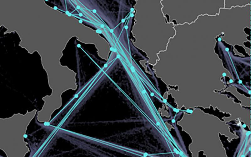 Researchers are tackling maritime situational awareness challenges on multiple fronts. This traffic graph and density map, extracted from automated identification system data of ship routes in the Ionian Sea, aids in establishing a baseline for maritime traffic analysis and prediction.  Artwork by Centre for Maritime Research and Experimentation/ Data Knowledge and Operational Effectiveness