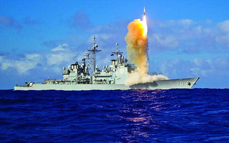 A Standard Missile-3 (SM-3) Block 1B interceptor missile is launched from the guided-missile cruiser USS Lake Erie during a Missile Defense Agency and U.S. Navy test in the mid-Pacific in 2013.