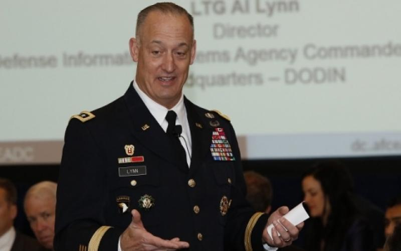 Lt. Gen. Alan Lynn, USA, commander of Joint Force Headquarters–DODIN and DISA, forecasts future requirements and needed solutions to protect the Defense Department from cyber attacks during an AFCEA D.C. Chapter event. Photo by Michael Carpenter