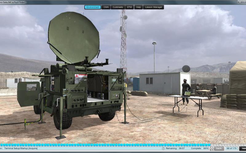 To hone their skills on the Army's tactical satellite terminals, soldiers can access simulation training packages resembling the latest commercial video games from their smartphones and tablets. This enables them to train, refresh their skills or troubleshoot problems anytime, anywhere.