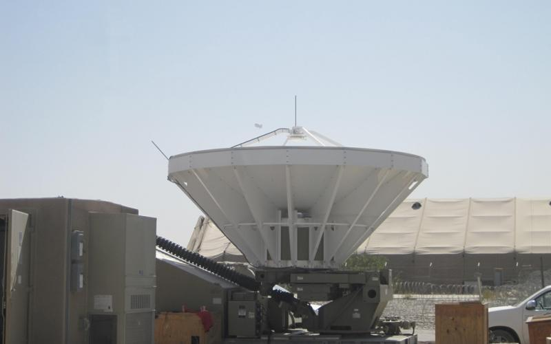 Deployable Ku-band Earth Terminals (DKETs) such as this one in Afghanistan can provide long-haul, high-capacity transport both within and beyond theater. These terminals can establish headquarters-level, network-hub connectivity anywhere a mission demands, and the systems can be dismantled and relocated as operations require.