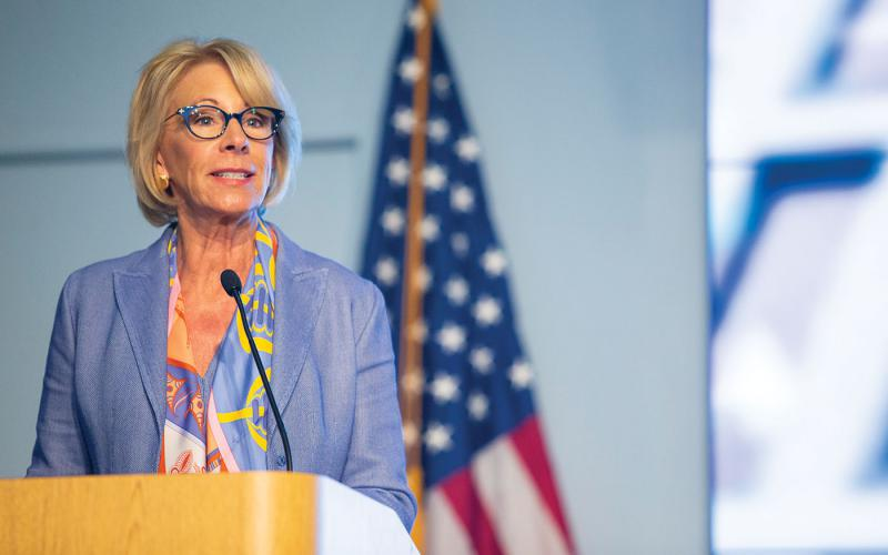 Secretary of Education Betsy DeVos speaks at the FCRA graduation ceremony, which was held at the Department of Education headquarters in Washington, D.C. Federal Chief Information Officer (CIO) Suzette Kent, Department of Education CIO Jason Gray, Deputy Director of Office Management and Budget Margaret Weichert and SANS Founder Alan Paller also spoke at the ceremony. Credit: Denis Largeron