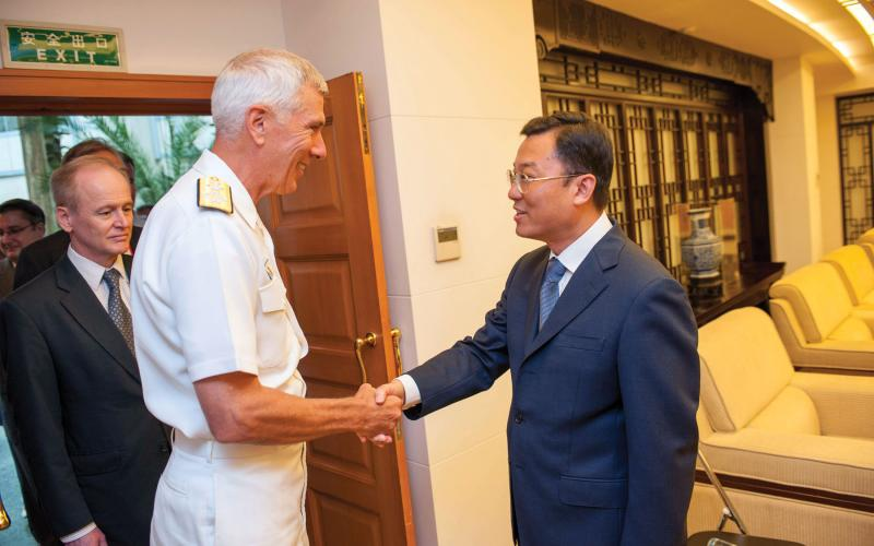 Adm. Samuel J. Locklear III, USN, commander of PACOM, visits the Ministry of Foreign Affairs in the People's Republic of China. PACOM continues to work to build relationships with Chinese officials and organizations with a goal of maximizing common interests and minimizing conflicts.