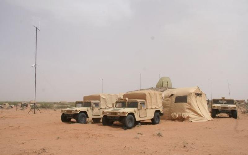 The Army's Tactical Network Transmission, or TNT, equipment collection includes the  4G LTE/wi-fi antenna seen on the left. (U.S. Army photo by Amy Walker, PEO C3T)