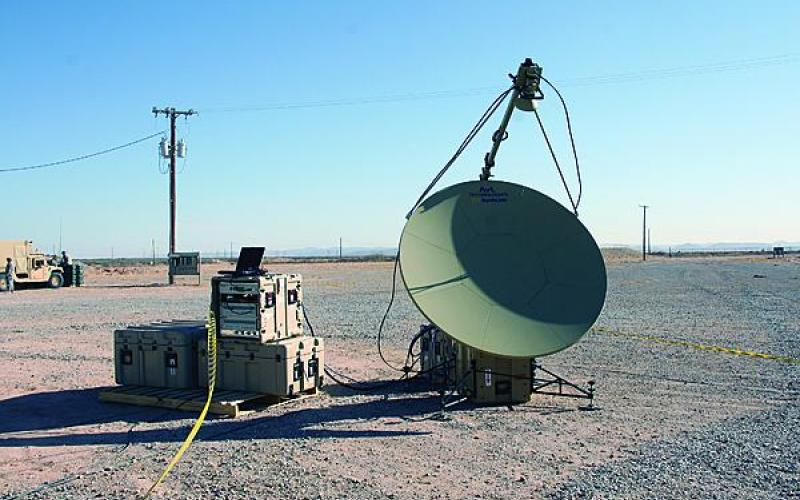 The Tropo Lite, a transit case-based tropospheric (tropo) scatter communications system, was assessed at NIE 14.2 to replace the Army's current truck- and trailer-based system. (U.S. Army photo by Amy Walker, PEO C3T)