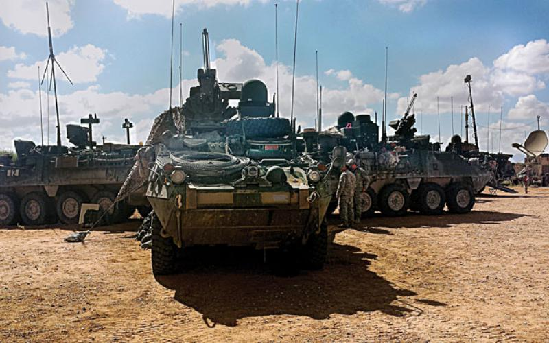 A Stryker Brigade combat team equipped with Warfighter Information Network-Tactical Increment 2 (WIN-T 2) prepares to move out during a Network Integration Evaluation. Army Research Laboratory scientists are exploring new methods of ensuring cyber resiliency so enemy operations cannot fully deny U.S. forces the use of their cyber assets in wartime. Credit: U.S. Army