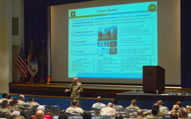Commercial vendors attend a briefing on the limits of a Cyber Quest exercise. The private sector and academia are vital sources of solutions sought by the Army Cyber Battle Lab.