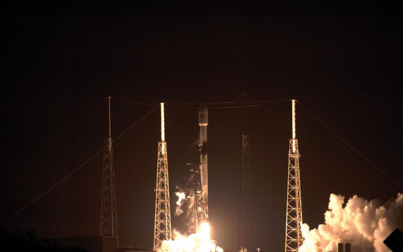 A SpaceX Falcon 9 launches the first 60 Starlink communication satellites from Cape Canaveral Air Force Station. Large numbers of small orbiters, such as cubesats and nanosats, launched by the commercial sector offer the potential for vast constellations of intelligence sensors in orbit. Credit: U.S. Air Force photo