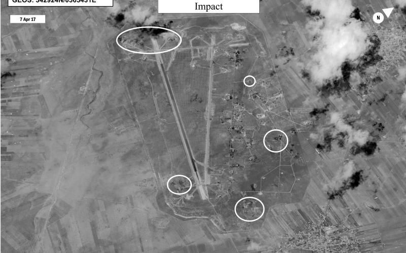 Imagery of U.S. missile strikes on Shayrat airfield, Syria, shows the damage after the onslaught. Surveillance and reconnaissance imagery risks tampering by malware injected into AI processing software, requiring built-in security before a machine learning system is deployed. Photo credit: U.S. Navy/DigitalGlobe