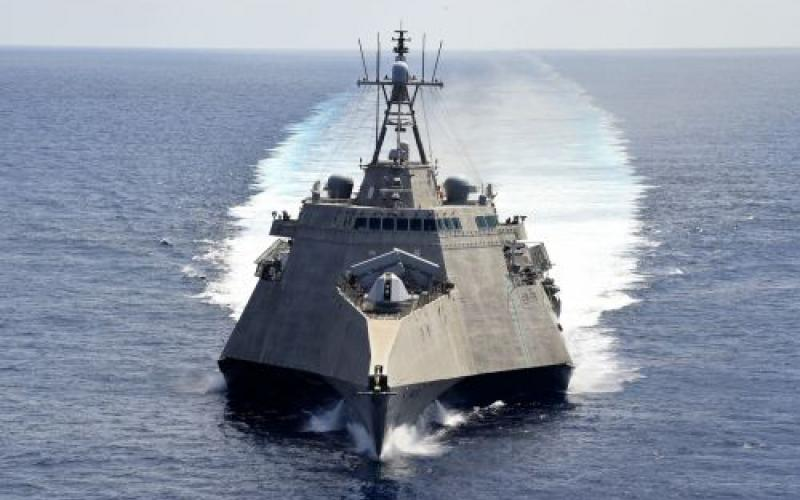 The USS Gabrielle Giffords received commercial cellular as a transport (CCaaT) capability to increase its cyber readiness outside of the continental United States. The Navy's PEO C4I and Space Systems is working to speed commercial information technologies into the fleet to upgrade its systems more rapidly than through conventional acquisition. Credit: U.S. Navy