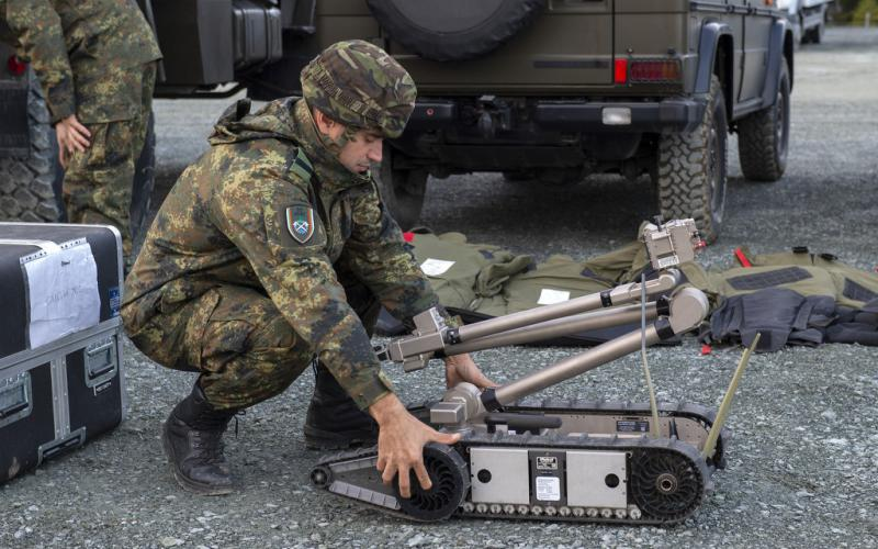 A Bulgarian soldier prepares an unmanned ground vehicle for operations during Trident Juncture 2018. This multinational exercise included an information environment assessment that used artificial intelligence and autonomous systems to help participants survey the battlefield.  ACT photo