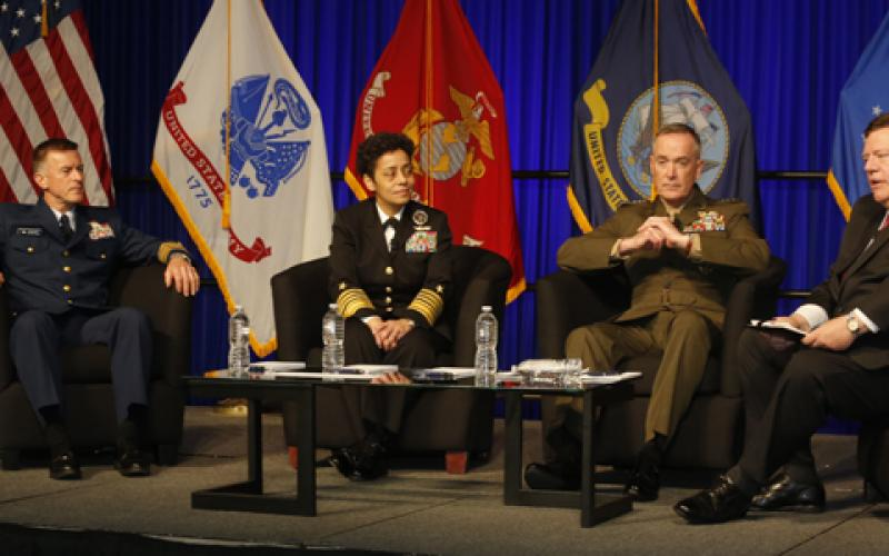(r-l) Vice Adm. Peter H. Daly, USN (Ret.), CEO of the U.S. Naval Institute, moderates a panel featuring Gen. Joseph F. Dunford Jr., USMC, commandant of the Marine Corps; Adm. Michelle J. Howard, USN, vice chief of naval operations; and Adm. Paul F. Zukunft, USCG, commandant of the Coast Guard.