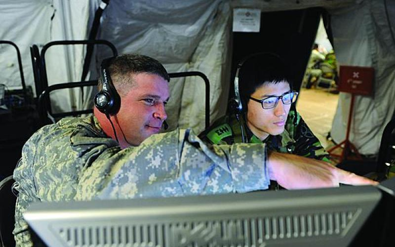 U.S. Army and Republic of Korea personnel work together during Ulchi Freedom Guardian exercises. Both countries are collaborating to a greater degree in non-conflict environments to improve their interoperability should hostilities break out.