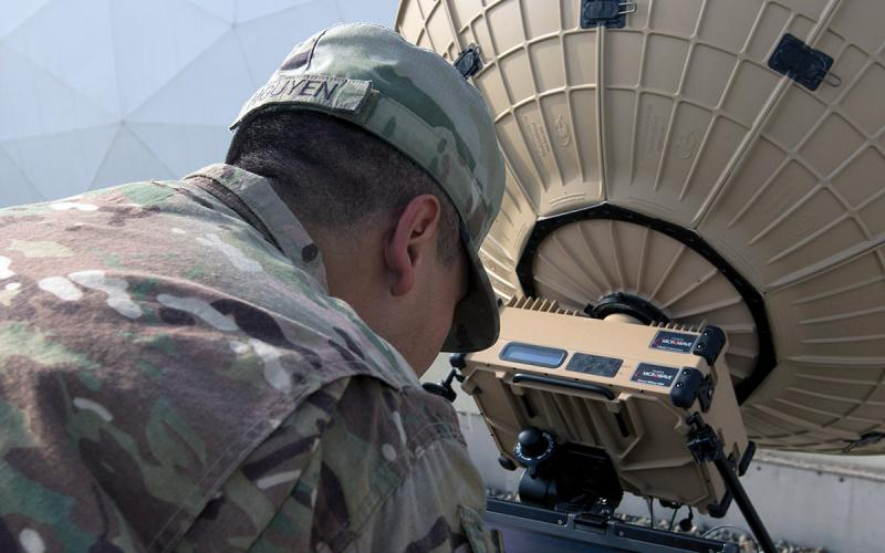 Sgt. Kevin Nguyen, USA, a team leader in the 50th Expeditionary Signal Battalion, tests the connection of a Tampa Microwave satellite dish in Camp Arifjan, Kuwait. A team of soldiers from the 50th ESB is testing the mobility and capabilities of their new equipment in locations all over the world. U.S. Army photo by Sgt. Adam Parent, USA