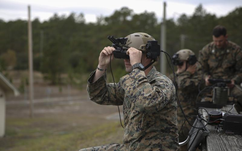 U.S. Marines test Microsoft's HoloLens during a training exercise to strengthen small unit-decision making. The technology provides Marines a visual overlay on the range so they can simulate calling for fire without using any live rounds.