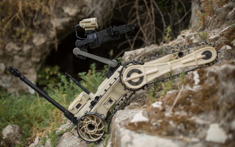 Roboteam's portable Micro Tactical Ground Robot is a 19-pound, all-terrain, stair-climbing robot used as a bomb-diffusing device.