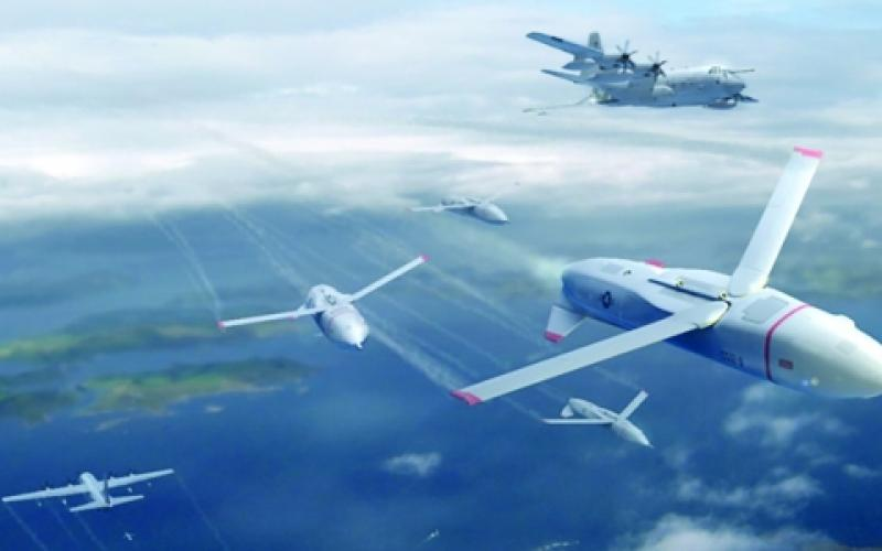 With its Gremlins program—named for the imaginary, mischievous imps that became the good luck charms of many British pilots during World War II—the Defense Advanced Research Projects Agency (DARPA) envisions fleets of drones dropping out of bombers. An artist's rendering shows groups of unmanned aerial systems as they launch from large aircraft that are out of range of adversary defenses.