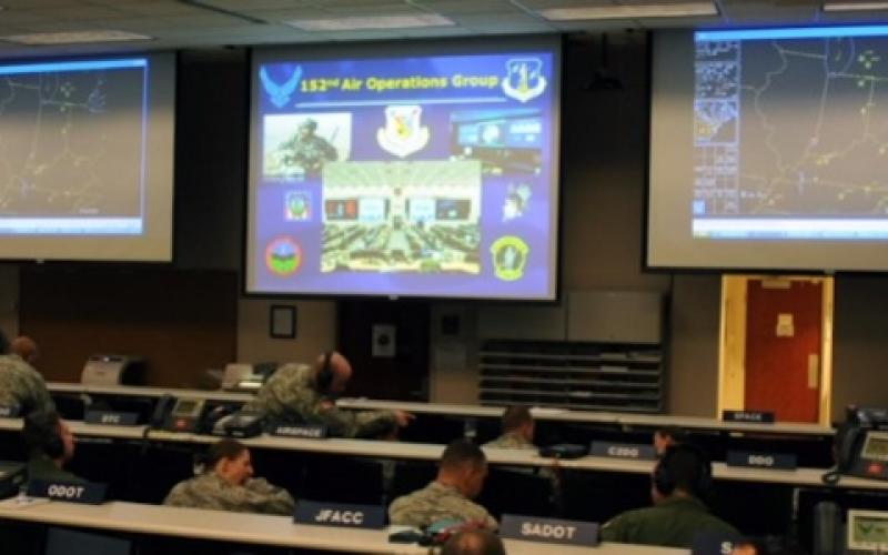 Airmen from the New York Air National Guard's 152nd Air Operations Group participate in Virtual Flag, a computer war game held in February 2015. The computer hookup let war planners interact with other Air Force units around the United States and in Europe.