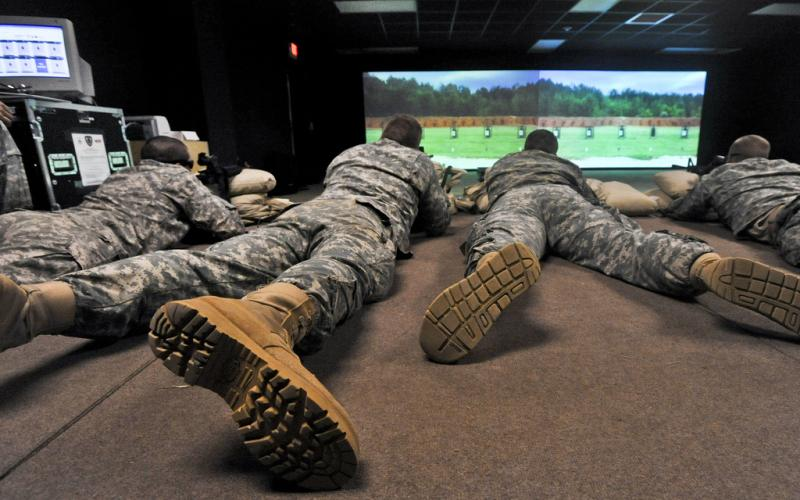 U.S. soldiers from Fort Campbell, Kentucky, participate in a live, virtual, constructive integrated training environment, which offers more realistic and effective instruction compared with traditional methods and reduces the cost of exercises and rehearsal drills.