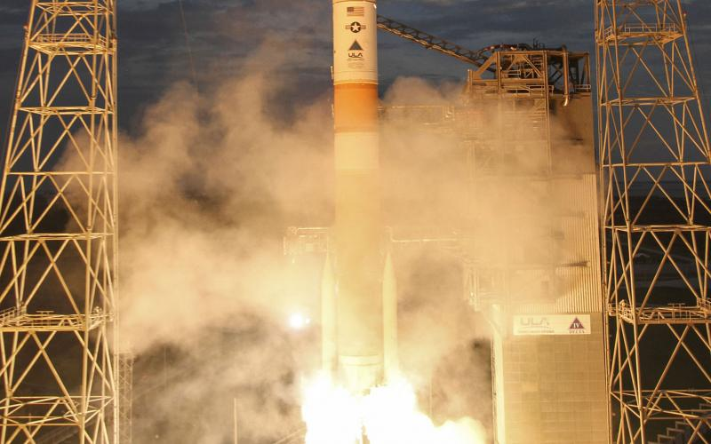 A United Launch Alliance Delta IV rocket carrying the Wideband Global SATCOM (WGS)-7 mission for the U.S. Air Force lifts off. The WGS is a constellation of highly capable military communications satellites that provides essential communications services to let military commanders exert command and control of tactical forces during peacetime and military operations.