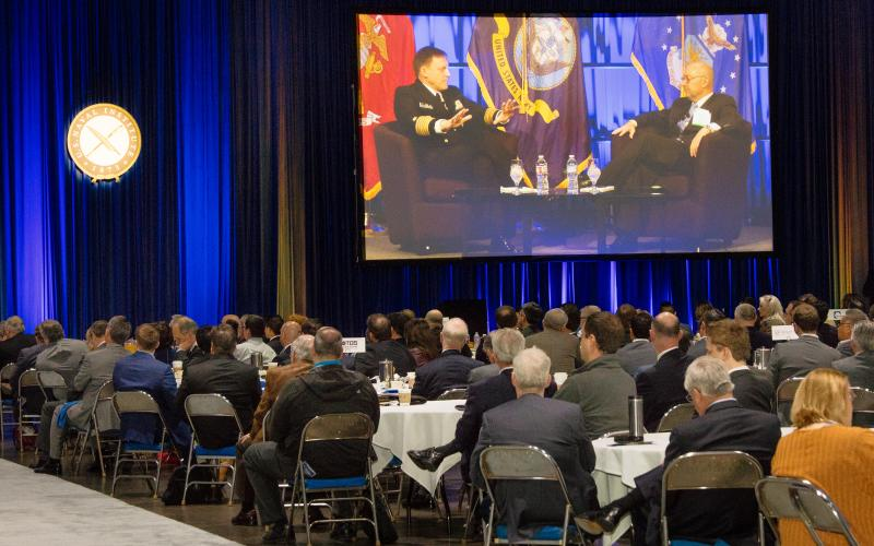 Participants pack a conference hall to catch a presentation by Adm. Michael Rogers, USN, head of the National Security Agency and U.S. Cyber Command, and Adm. James Stavridis, USN (Ret.), former NATO commander.  Photo by Michael Carpenter