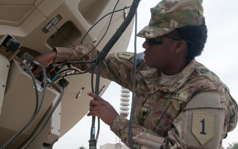 A signal support specialist with Division Headquarters and Headquarters Battalion (DHHB), 1st Infantry Division, checks out a secret Internet protocol router network (SIPRNet)/nonsecure Internet protocol router network (NIPRNet) access point, or SNAP, in Iraq. Members of the 1st Infantry Division have joined with others in the Combined Joint Forces Land Component Command– Iraq (CJFLCC-I) to build a robust communications network that can evolve over the years to come.